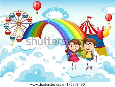 Illustration of a carnival in the sky with a rainbow - stock vector