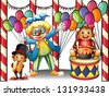 Illustration of a carnival with a clown and monkeys on a white background - stock vector
