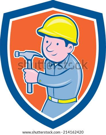 Illustration of a carpenter builder construction worker with hammer walking looking to side set inside shield crest on isolated background done in cartoon style.