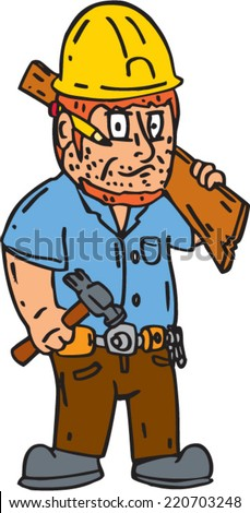 Illustration of a carpenter builder construction worker with pencil on ear holding hammer and wood plank on shoulder on isolated white background done in cartoon style. - stock vector