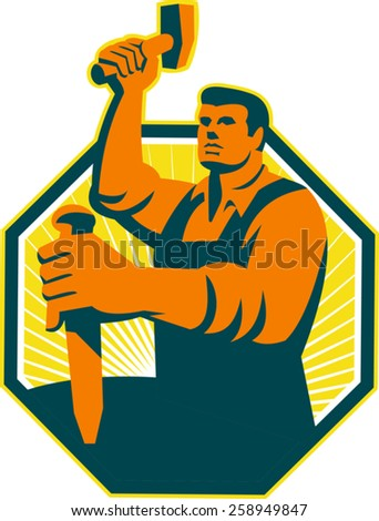 Illustration of a carpenter sculptor worker with hammer striking chisel set inside octagon done in retro style.