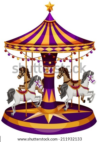 Illustration of a carrousel ride on a white background