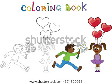 Illustration of a cartoon african boy running with a bunch of flowers and cartoon african girl with balloons. Valentine's Day