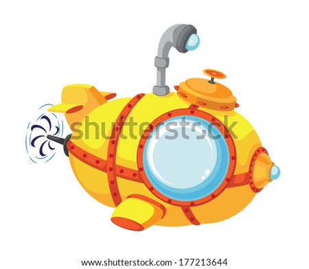 illustration of a cartoon bathyscaphe - stock vector
