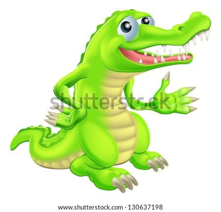 Illustration of a cartoon crocodile or alligator character or mascot - stock vector