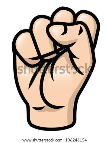 Illustration of a cartoon fist  raised upwards. Eps 10 Vector. - stock vector