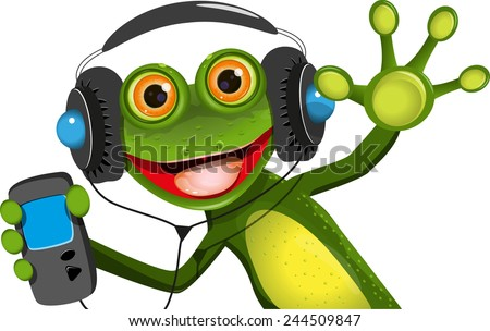 Illustration of a cartoon frog in headphones