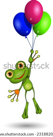 Illustration of a cartoon frog on balloons - stock vector