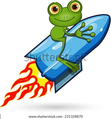 Illustration of a cartoon frog on the Rocket - stock vector