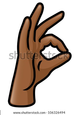 Illustration of a cartoon hand making a pinching gesture with the thumb and index finger. Eps 10 Vector. - stock vector