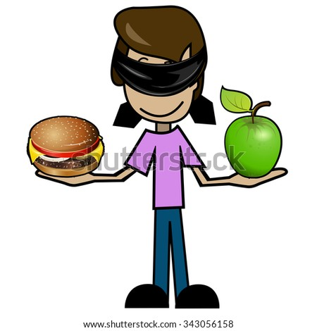 Illustration of a cartoon man with an apple and a cheeseburger - stock vector
