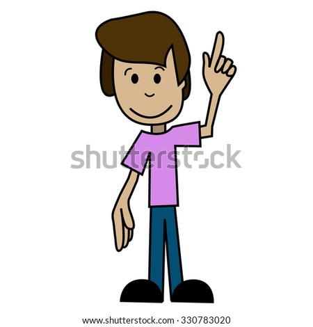 Illustration of a cartoon man with his hand raised - stock vector