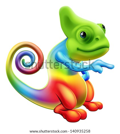 Illustration of a cartoon rainbow chameleon mascot standing and pointing - stock vector