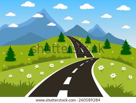 Illustration of a cartoon summer or spring road to mountains landscape - stock vector