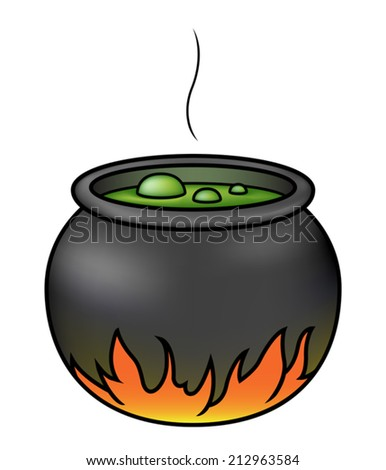 Illustration of a cartoon witches' cauldron brewing over a fire. Eps 10 Vector. - stock vector