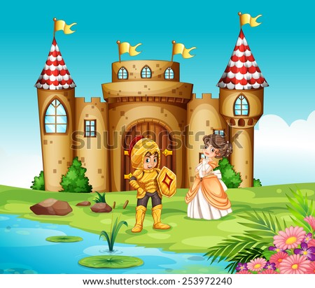 Illustration of a castle and a knight - stock vector