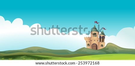 Illustration of a castle and the land - stock vector