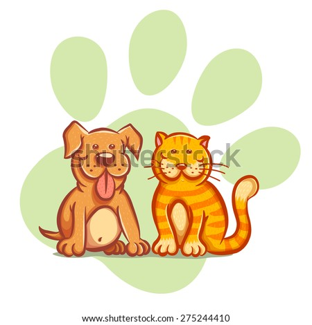 Illustration of a cat and dog - stock vector