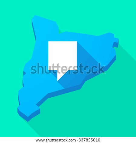 Illustration of a Catalonia long shadow vector icon map with a tooltip