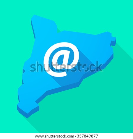 Illustration of a Catalonia long shadow vector icon map with an at sign