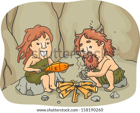 Illustration of a Caveman Couple Trying to Cook Their Food by Starting a Fire with Two Pieces of Stones  - stock vector