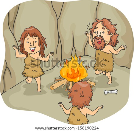 Illustration of a Caveman Family Dancing Around a Bonfire - stock vector