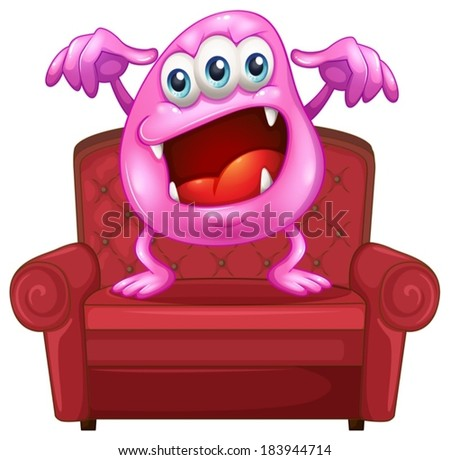 Illustration of a chair with a pink monster on a white background - stock vector