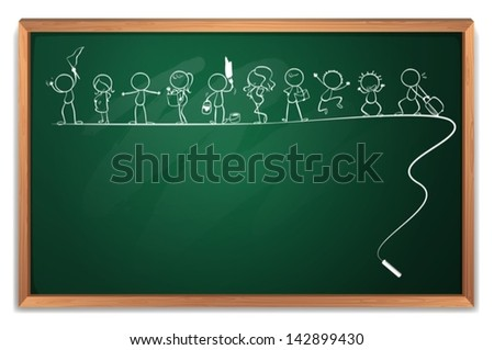 Illustration of a chalkboard with a drawing of kids playing different sports on a white background - stock vector
