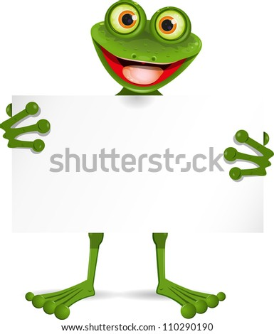 illustration of a cheerful frog with a white plate - stock vector