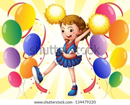 Illustration of a cheerleader dancing in the middle of the balloons - stock vector