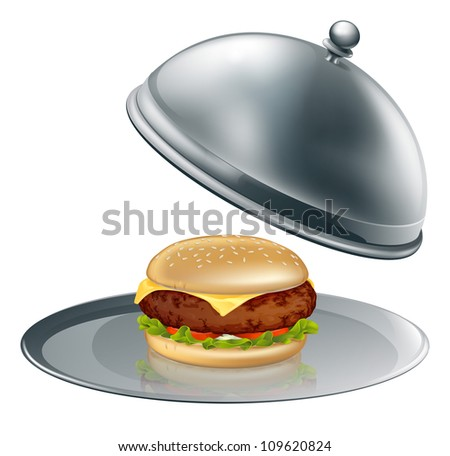 Illustration of a cheese burger on silver platter. Could be a concept for inflated worth or luxury burgers. - stock vector