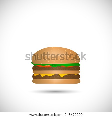 Illustration of a cheese hamburger isolated on a white background. - stock vector