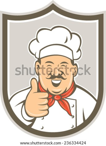 Illustration of a chef cook looking happy smiling with thumbs up set inside shield crest on isolated background done in retro style.