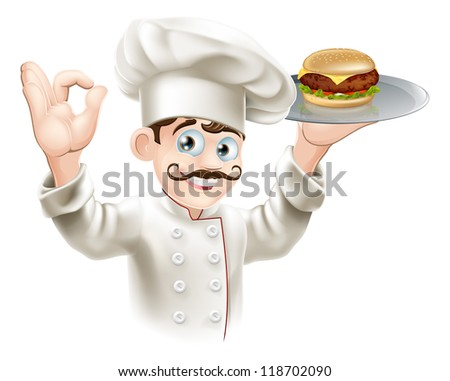 Illustration of a chef holding a gourmet burger on a tray - stock vector
