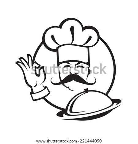 illustration of a chef with dish - stock vector