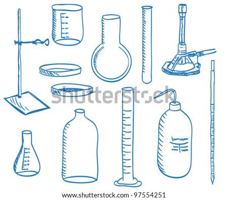 Illustration of a chemistry laboratory equipment - vector - stock vector