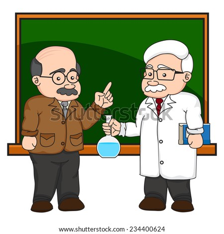 illustration of a chemistry or scientist at a chalkboard on white background. - stock vector