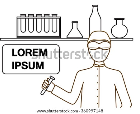 illustration of a chemistry or scientist in laboratory. Medical Laboratory Conceptual. Vector Illustration. - stock vector