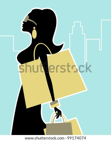 Illustration of a chic woman shopping in the city. - stock vector