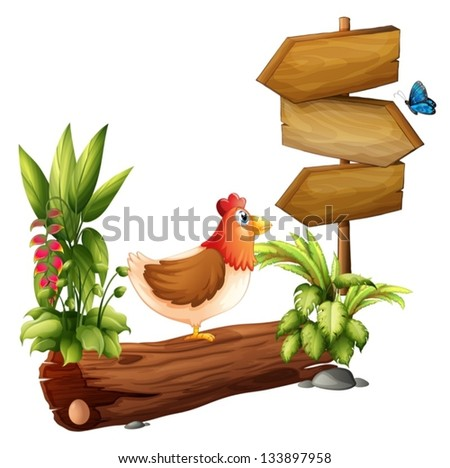 Illustration of a chicken and a butterfly near the wooden arrows on a white background - stock vector