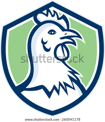 Illustration of a chicken hen head viewed from side set inside shield on isolated background done in cartoon style.