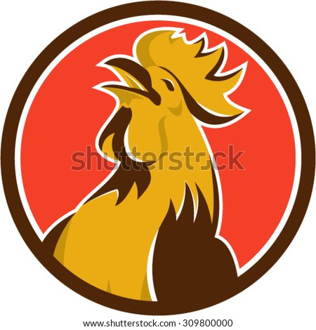 Illustration of a chicken rooster crowing viewed from the side set inside circle on isolated background done in retro style.  - stock vector