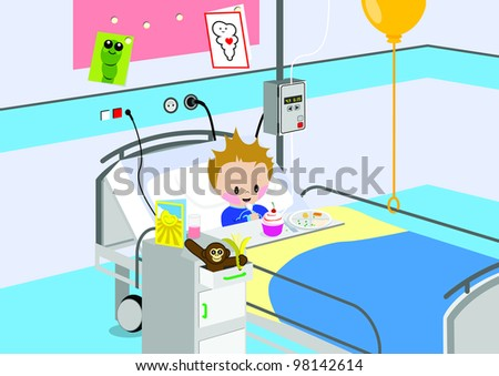 Illustration of a child eating a meal in hospital bed. All vector objects and details are isolated and grouped. This illustration is a part of a story about a child in hospital. - stock vector