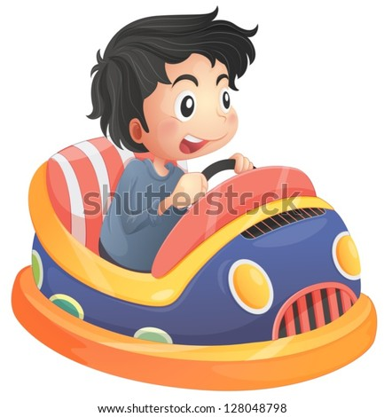 Illustration of a child riding in a bumpcar on a white background - stock vector
