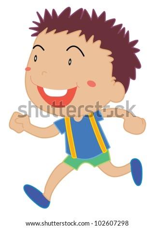 Illustration of a child running - stock vector