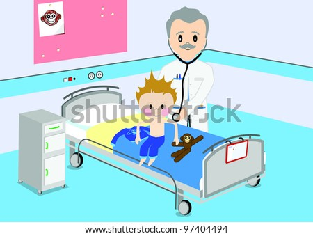 Illustration of a child that gets a by medical examination by a doctor. All vector objects and details are isolated and grouped. This illustration is a part of a story about a child in hospital. - stock vector