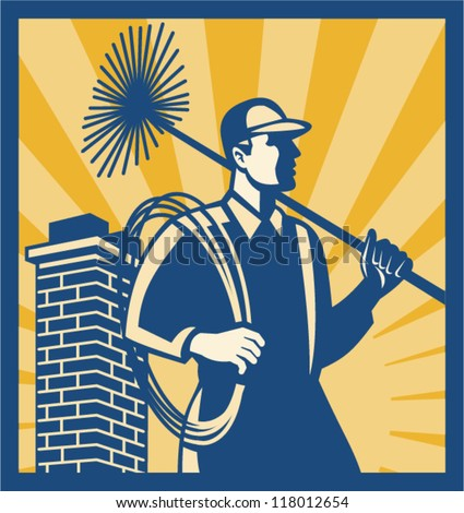 Illustration of a chimney sweeper cleaner worker with sweep broom viewed from side with chimney stack set inside square done in retro style. - stock vector