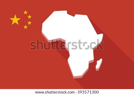 Illustration of a China long shadow flag with  a map of the african continent