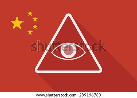 Illustration of a China long shadow flag with an all seeing eye