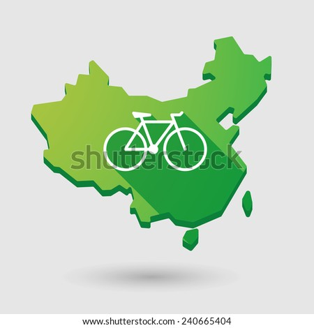Illustration of a China map icon with a bicycle